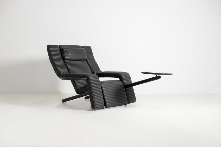 Italian Black Lounge Chair Kilkis by Ammannati & Vitelli for Brunati, 1980s In Good Condition For Sale In Milano, IT
