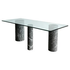 Italian Black Marble and Glass Dining Table by Massimo Vignelli 1980s
