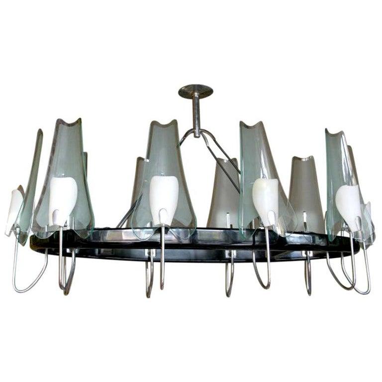 Italian Black Metal, Chrome and Glass Oval Chandelier by Stilnovo, 1950s For Sale