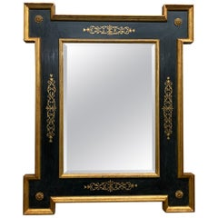 Vintage Italian Black Mirror with Extended Corners, Gilt Borders