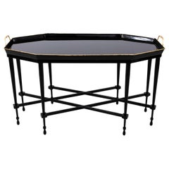 Italian Black Painted Tole Tray on Stand