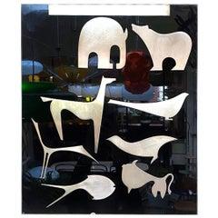 Italian Black Plexiglass Decorative Panel with Animal by Lino Sabattini, 1980s