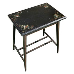 Italian Black Table with Hand Painted Floral Details