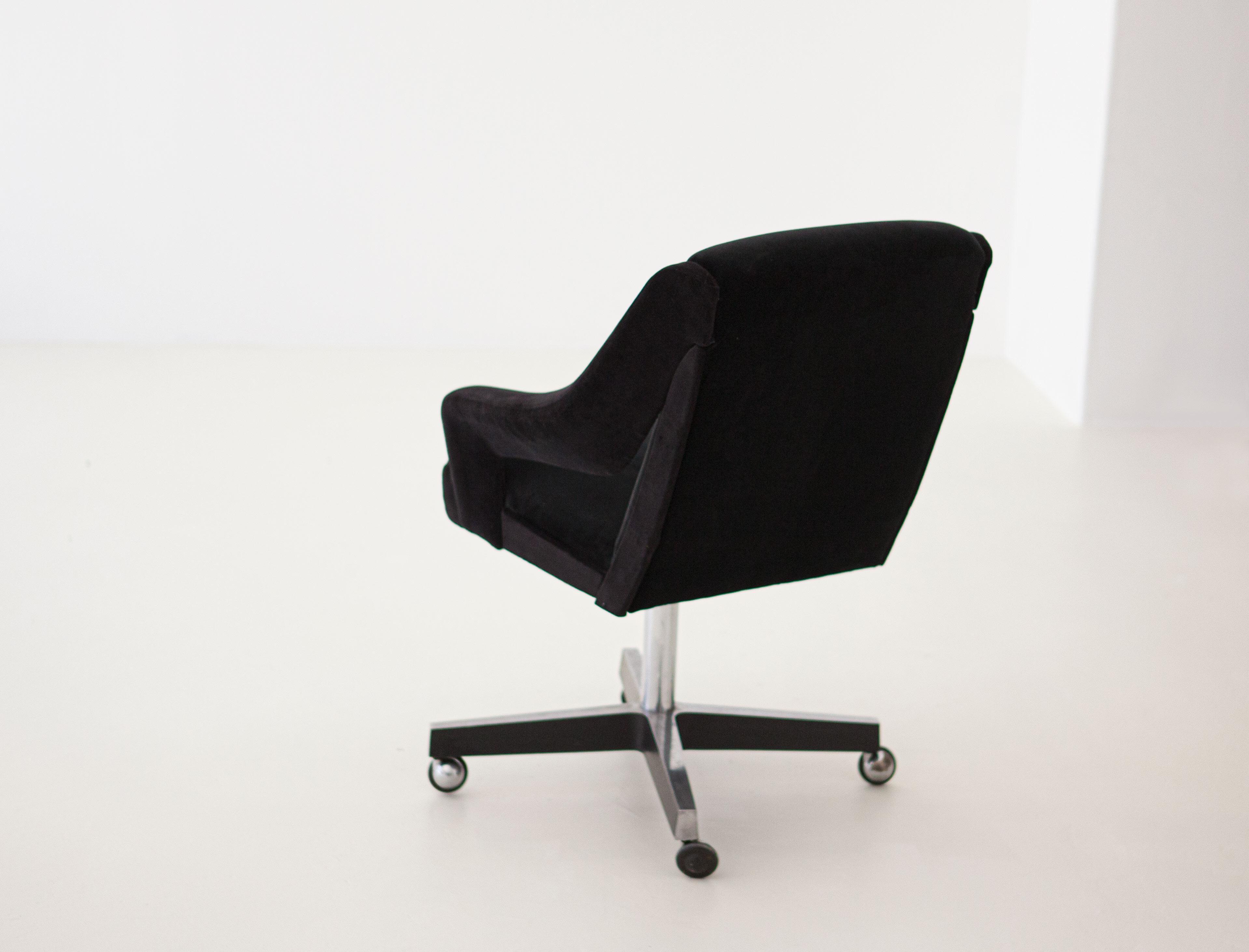Italian Black Velvet And Steel Swivel Chair 1950s