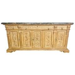Italian Bleached Walnut Credenza with Marble Top, circa 1900