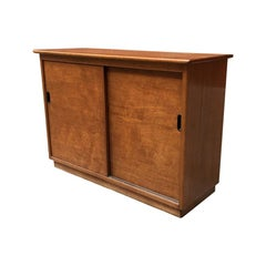 Italian Blond Teak and Plastic Small Sized Sideboard, 1960s