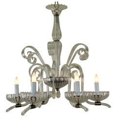 Italian Blown Glass Chandelier attributed to Barovier e Toso