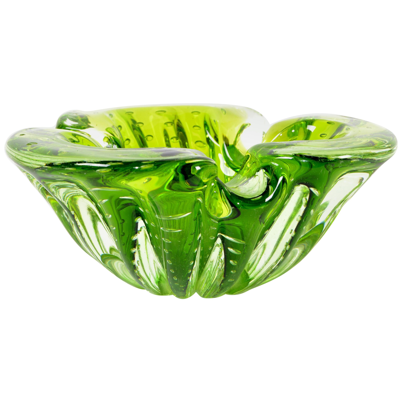 Italian Blown Murano Glass Neon Green Controlled Bubble Catchall, Bowl, Ashtray