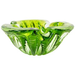 Italian Blown Murano Glass Neon Green Controlled Bubble Catchall, Bowl, Ashtray