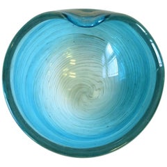 Italian Blue and Shimmering Copper Murano Art Glass Bowl