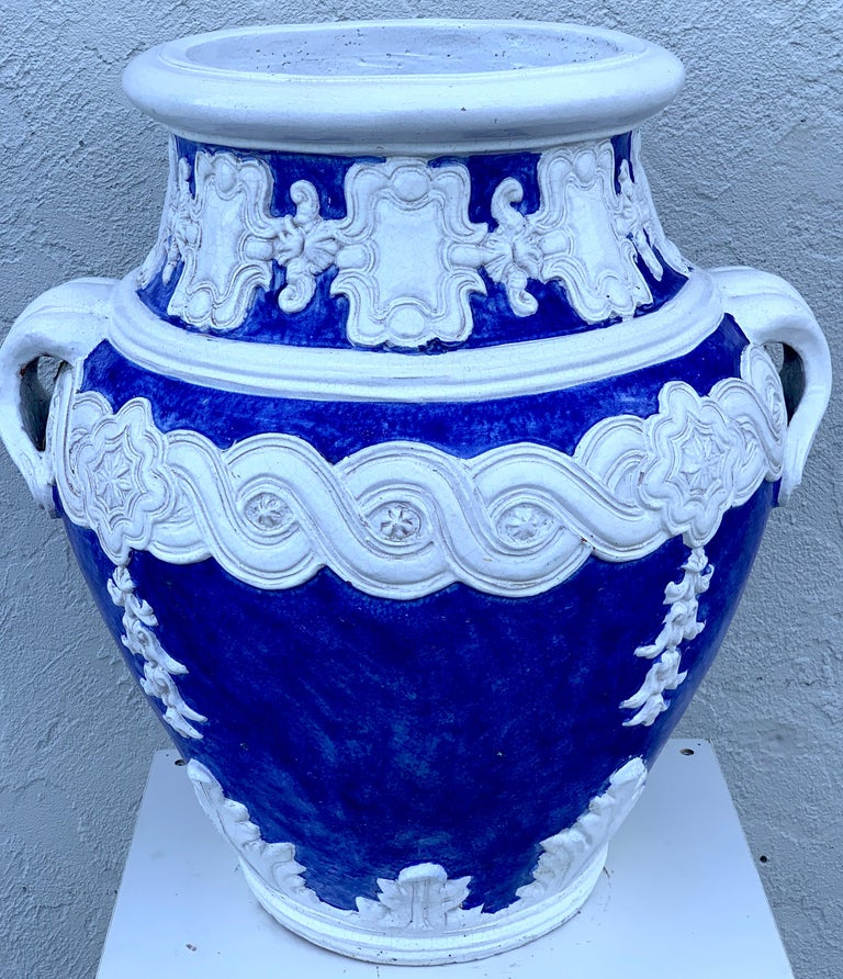 Baroque Italian Blue and White Della Robbia Style Jardiniere, Provenance, Celine Dion For Sale