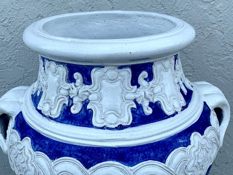 Glazed Italian Blue and White Della Robbia Style Jardiniere, Provenance, Celine Dion For Sale