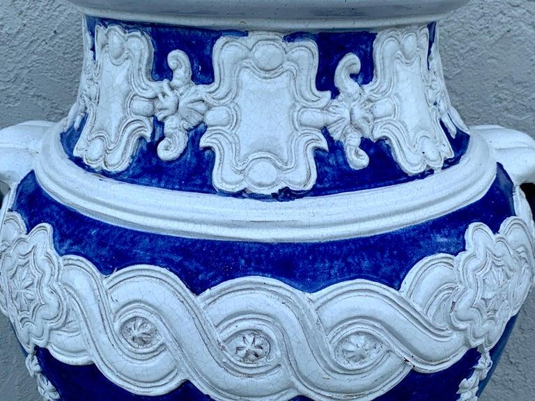 Italian Blue and White Della Robbia Style Jardiniere, Provenance, Celine Dion In Good Condition For Sale In West Palm Beach, FL