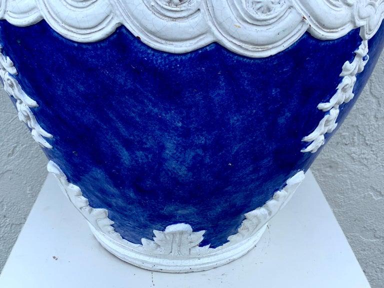 20th Century Italian Blue and White Della Robbia Style Jardiniere, Provenance, Celine Dion For Sale