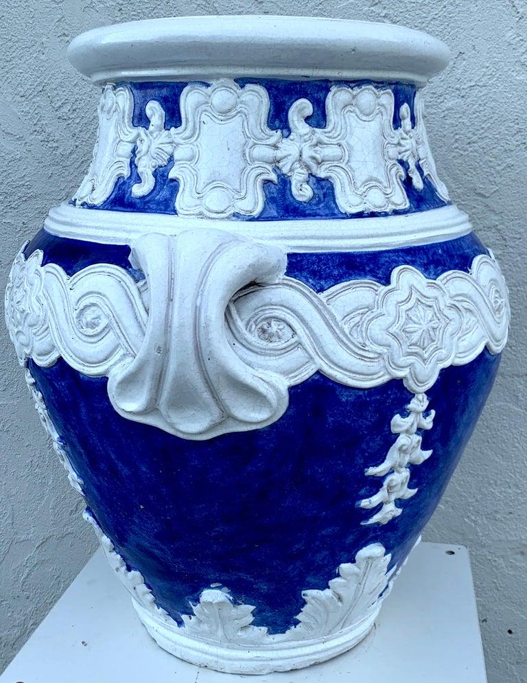 Terracotta Italian Blue and White Della Robbia Style Jardiniere, Provenance, Celine Dion For Sale