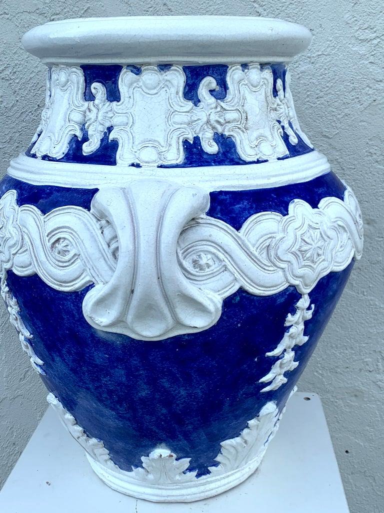 Italian Blue and White Della Robbia Style Jardiniere, Provenance, Celine Dion For Sale 1