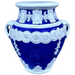 Italian Blue and White Della Robbia Style Jardiniere, Provenance, Celine Dion