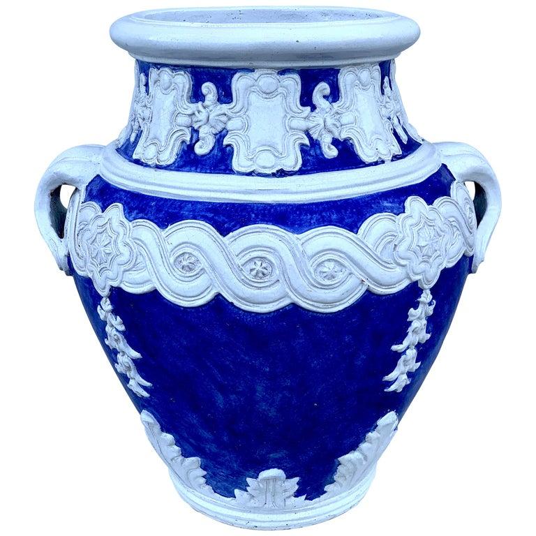 Italian Blue and White Della Robbia Style Jardiniere, Provenance, Celine Dion For Sale