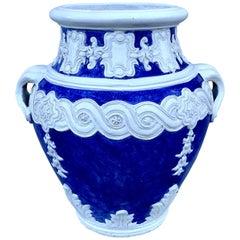 Italian Blue and White Della Robbia Style Jardinière, Provenance, Celine Dion