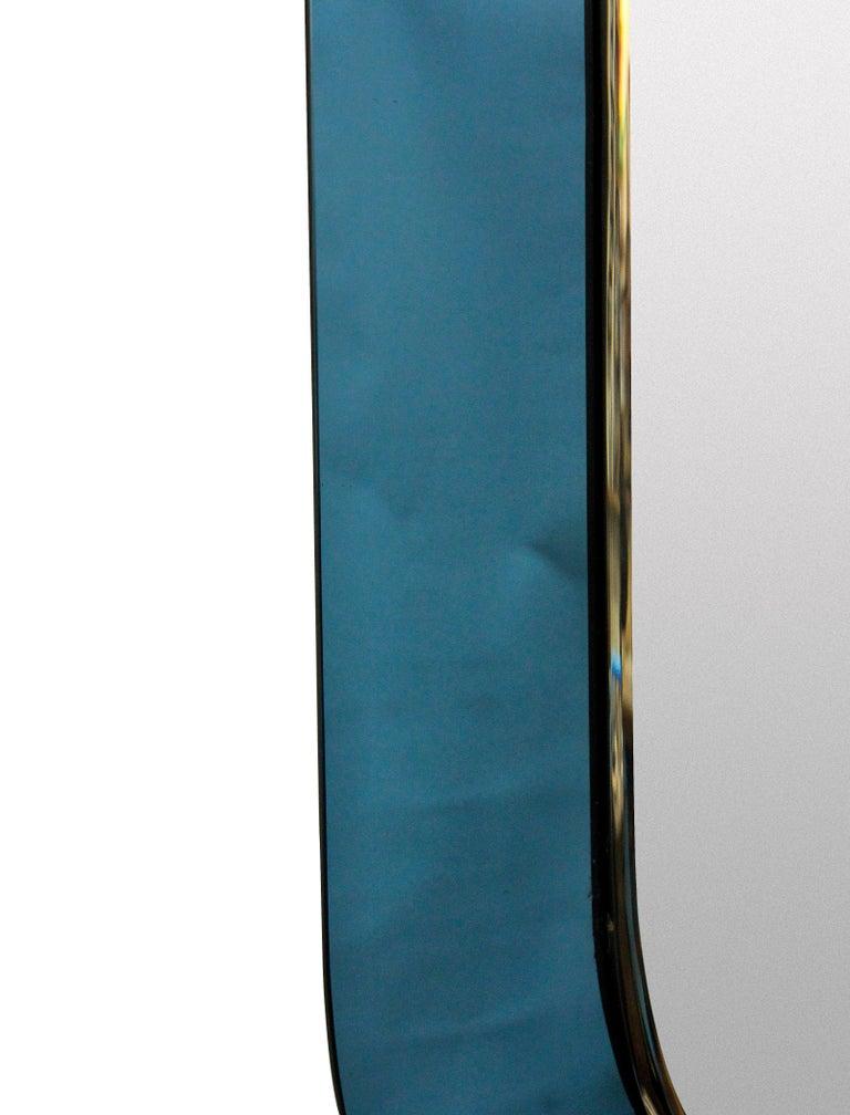 Mid-Century Modern Italian Blue Bordered Midcentury Mirror