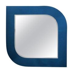 Italian Blue Bordered Midcentury Mirror