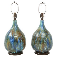 Italian Blue, Brown Drip Glaze Lamps