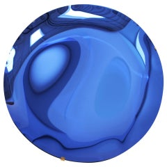 Italian Blue Concave Hand-Crafted Murano Glass Rounded Mirror, Italy, 2020