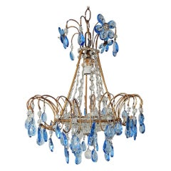 Italian Blue Crystal Prisms with Flowers Chandelier, circa 1920