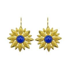 Italian Blue Crystal Vermeil Drop Earrings