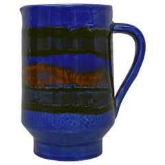 Italian Blue Cylindrical Ceramic Jug with Colored Abstract Decoration, 1960s
