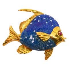 Italian Blue Enamel Yellow Gold Sun Fish Brooch Pin w Ruby Accent