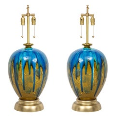 Italian Blue, Green Drip Glaze Lamps