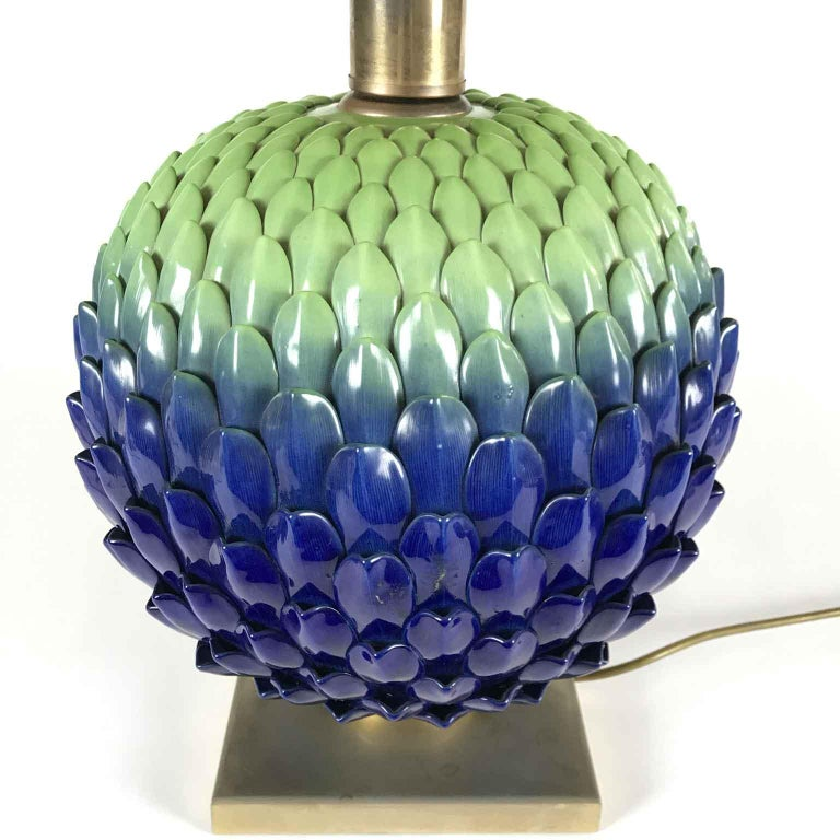 Hand-Painted Italian Blue Green Pine Cone Porcelain Lamp by Mangani Firenze 1980s For Sale
