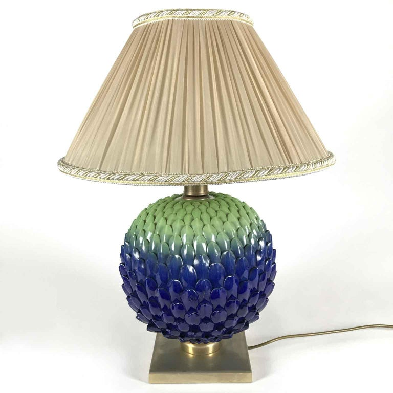 Italian Blue Green Pine Cone Porcelain Lamp by Mangani Firenze 1980s In Good Condition For Sale In Milan, IT