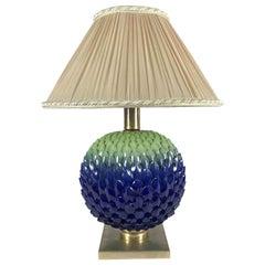 Italian Blue Green Pine Cone Porcelain Lamp by Mangani Firenze 1980s
