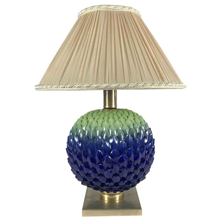 Italian Blue Green Pine Cone Porcelain Lamp by Mangani Firenze 1980s For Sale