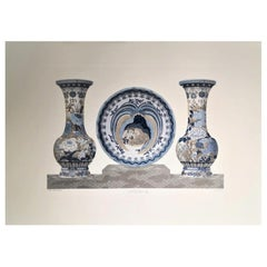 Italian Blue Grey and White Hand Painted Japanese Satsuma Vases and Plate Print
