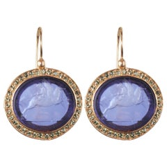 Italian Blue Intaglio Crystal Vermeil Drop Earrings
