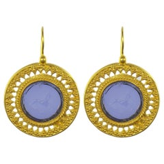 Italian Blue Intaglio Vermeil Drop Earrings
