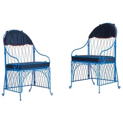 Italian Blue Iron Folding Chairs with Velvet Seat and Bikini Top Upholstery