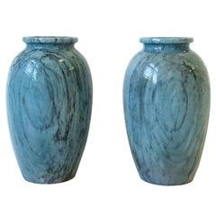 Italian Blue Marble Urn Vases, Pair