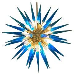Italian Blue Murano Glass Sputnik Chandelier Brass Structure, 1970s