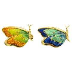 Italian Blue Orange Green Enamel Butterfly Gold Brooches Pins Pair