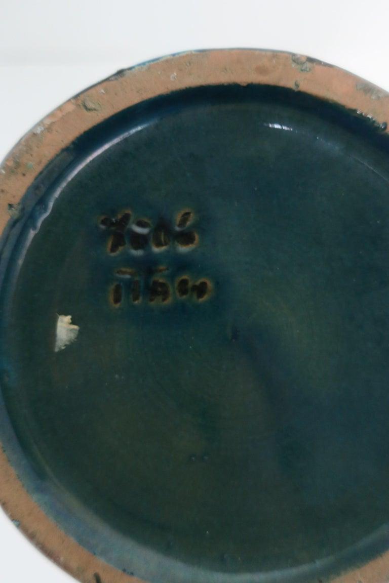 Italian Blue Pottery Vase with Figurative Design, circa 20th Century For Sale 7