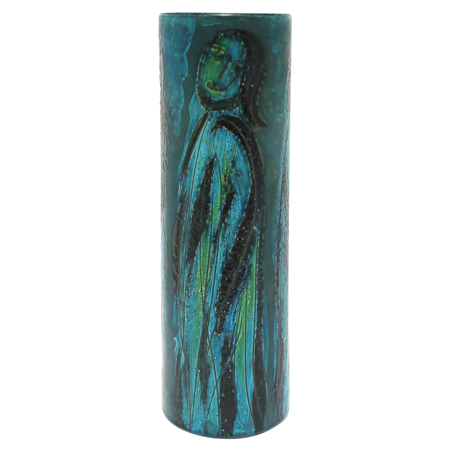 Italian Blue Pottery Vase with Figurative Design, circa 20th Century