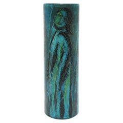 Italian Blue Pottery Vase with Figurative Design, circa 20th Century