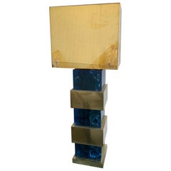Italian Blue Resin and Brass Tower Lamp with Brass Shade