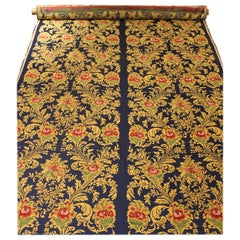 Italian Blue Silk Blend Brocade with Red Roses and Gold Floral Patterns