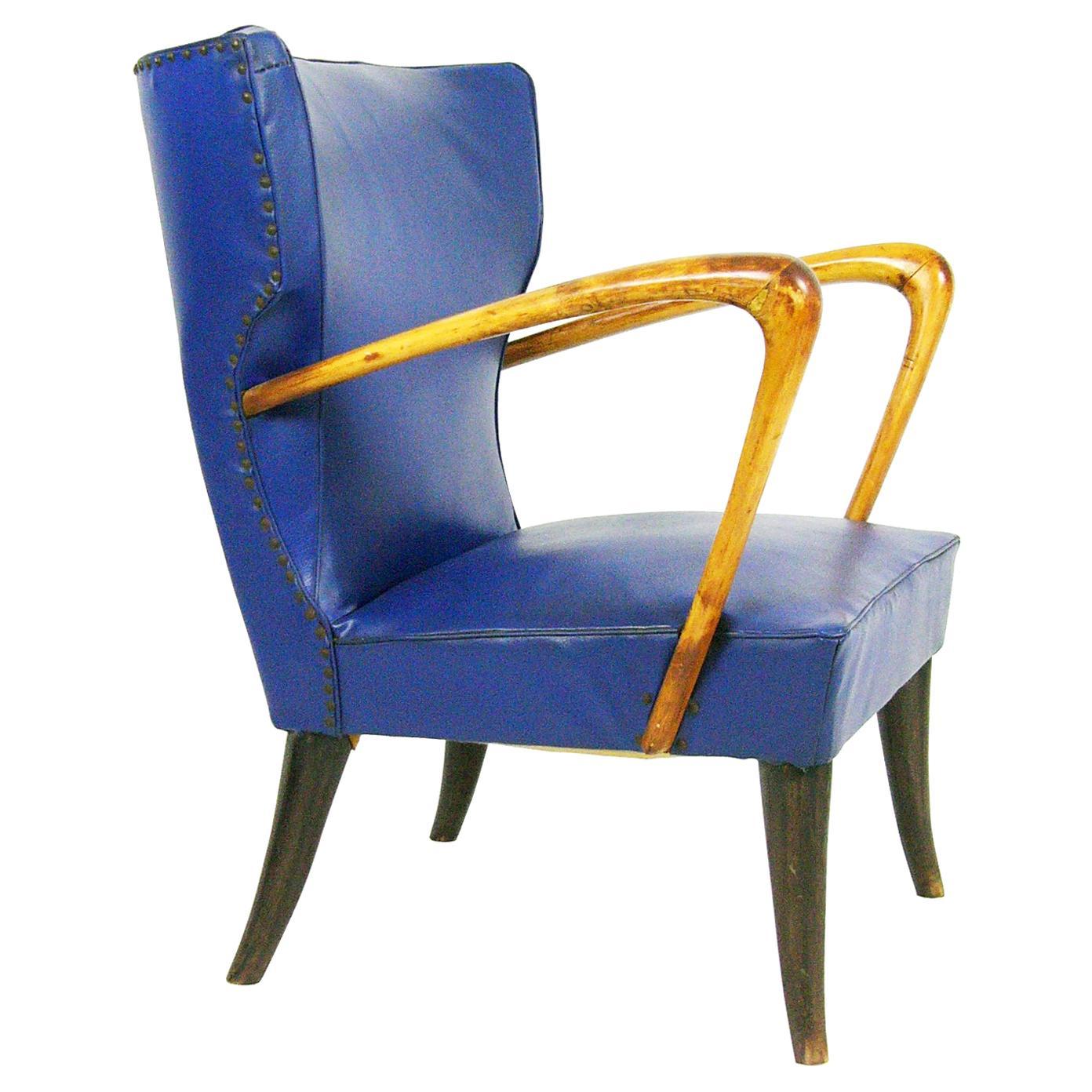 Italian Blue Skai and Wood 1950s Armchair