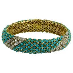 Italian Blue Turquoise White Diamond Yellow Gold Pelouse Bracelet